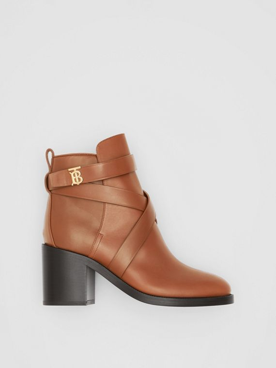 Monogram Motif Leather Ankle Boots in Tan