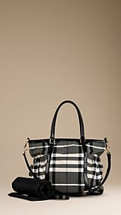 Bolso cambiador de nailon con checks Beat