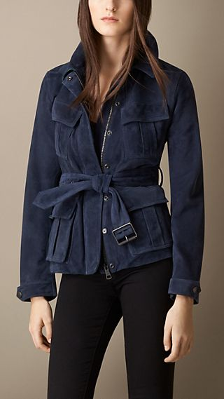 Suede Field Jacket with Bellows Pockets