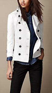 Short Stretch-Cotton Trench Jacket
