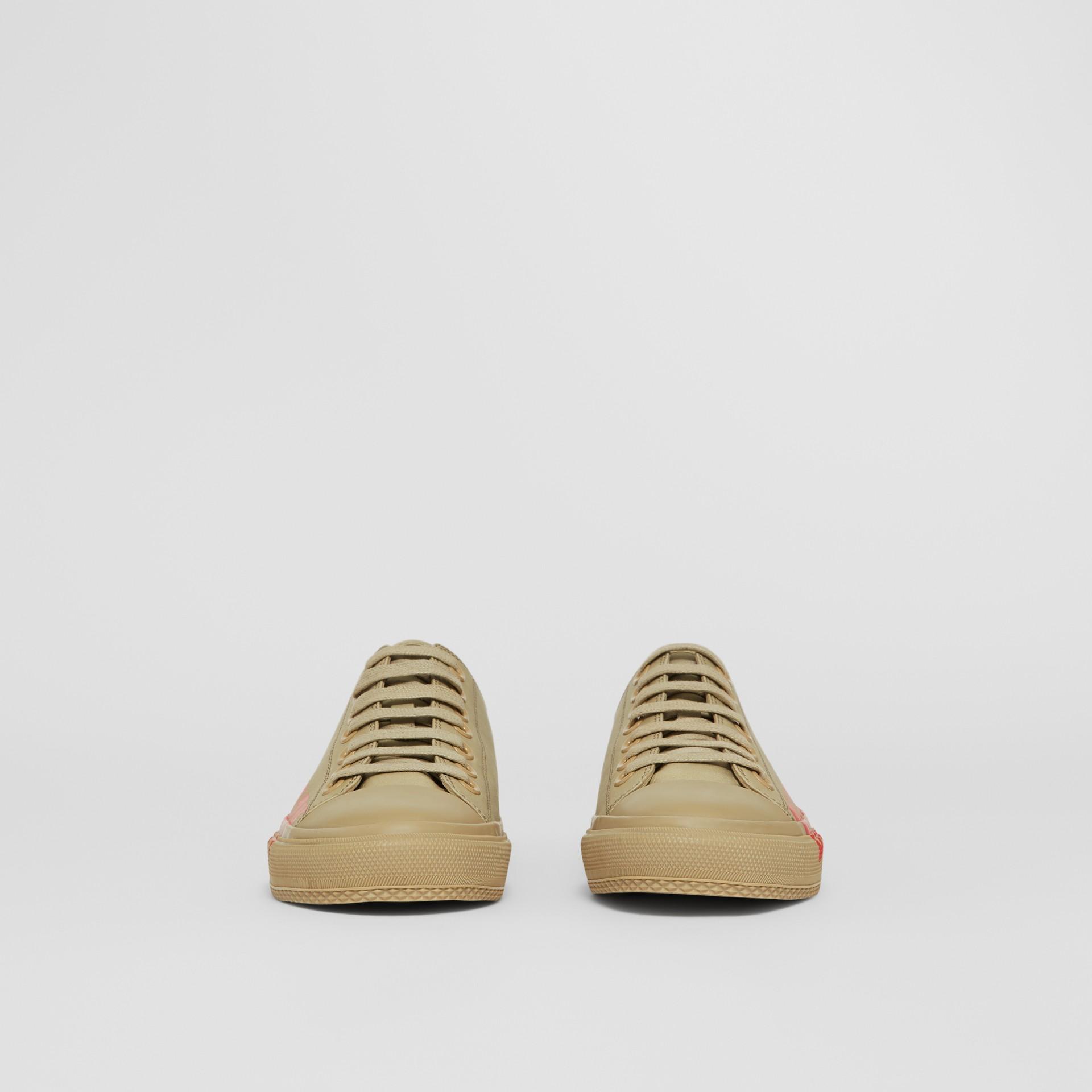 Logo Print Cotton Gabardine Sneakers in Dark Honey - Women | Burberry - gallery image 3