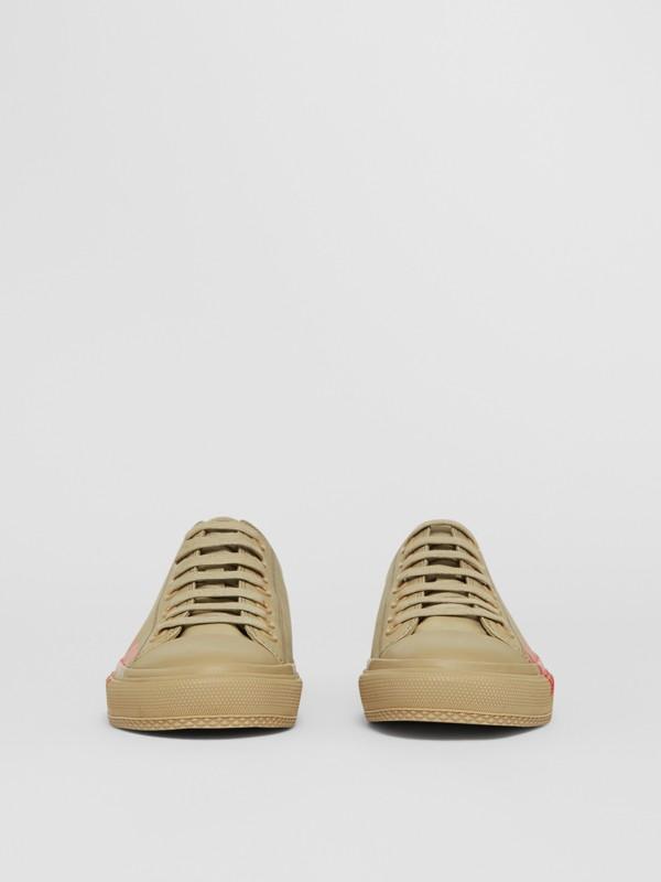 Logo Print Cotton Gabardine Sneakers in Dark Honey - Women | Burberry - cell image 3