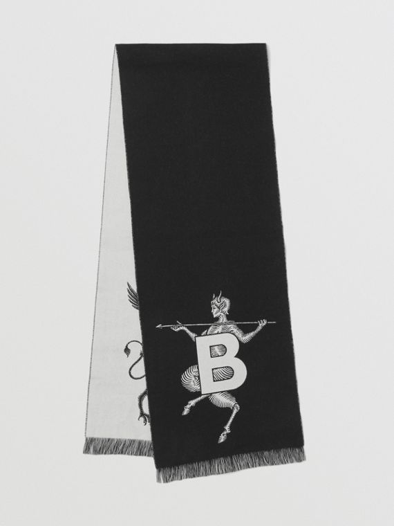 Mythical Alphabet Wool Jacquard Scarf in Black/white