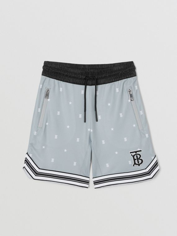 Star and Monogram Motif Jersey Mesh Shorts in Light Grey