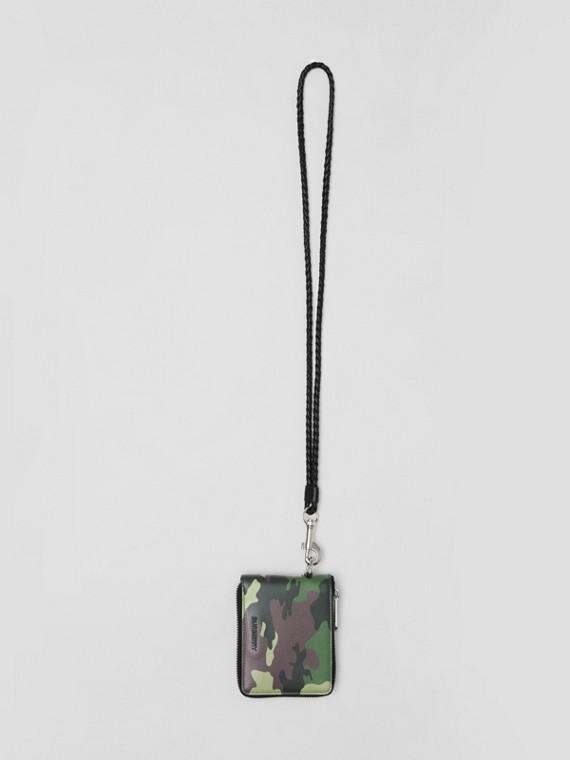 Camouflage Print Leather Ziparound Wallet Lanyard in Mangrove Green