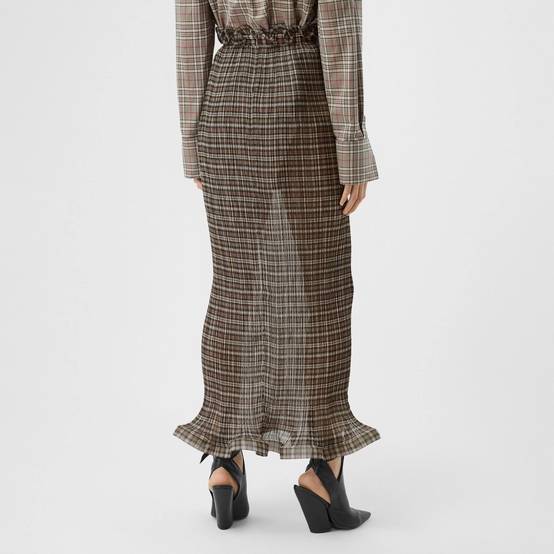 Custom Fit Ruffle Detail Check Chiffon Plissé Skirt in Mahogany - Women | Burberry - gallery image 2