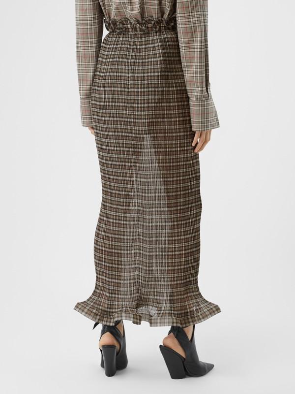 Custom Fit Ruffle Detail Check Chiffon Plissé Skirt in Mahogany - Women | Burberry - cell image 2