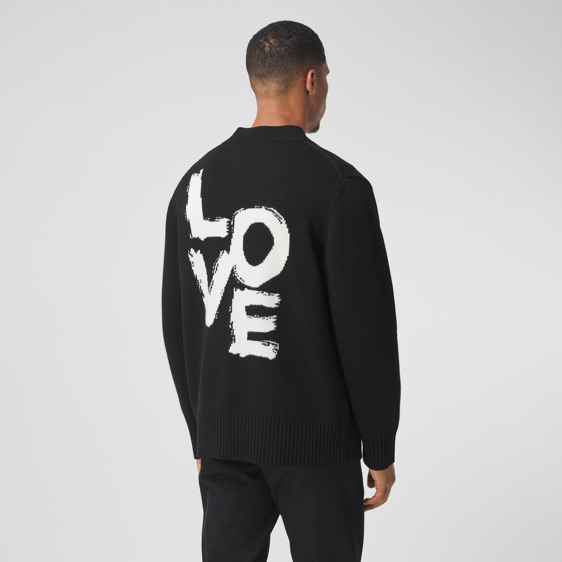 Love Motif Merino Wool Oversized Cardigan in Black - Men | Burberry - gallery image 0
