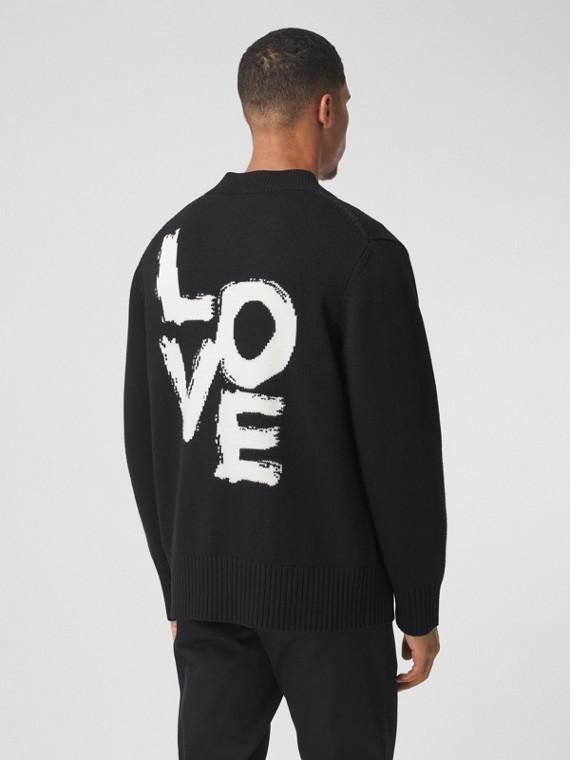 Oversize-Cardigan aus Merinowolle mit Love-Schriftzug (Schwarz)