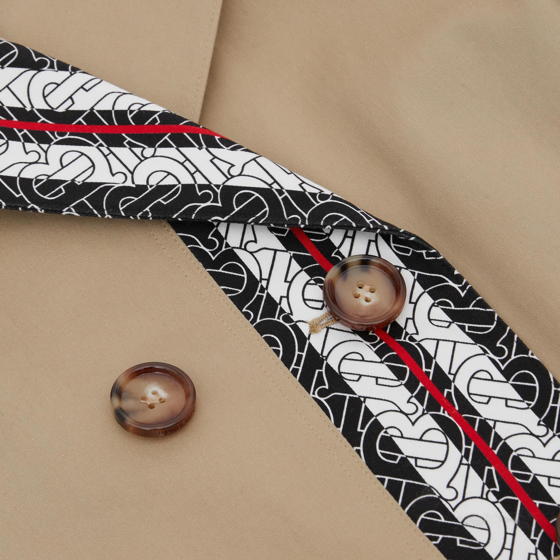 Monogram Stripe Print Cotton Trench Coat in Honey | Burberry Canada - gallery image 6