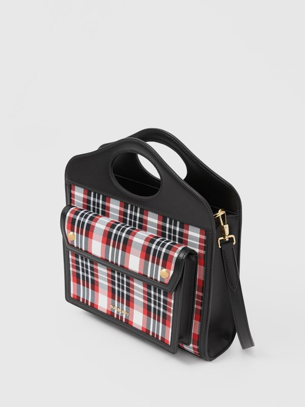 Mini Tartan Nylon and Leather Pocket Bag in Bright Red - Women | Burberry - cell image 3