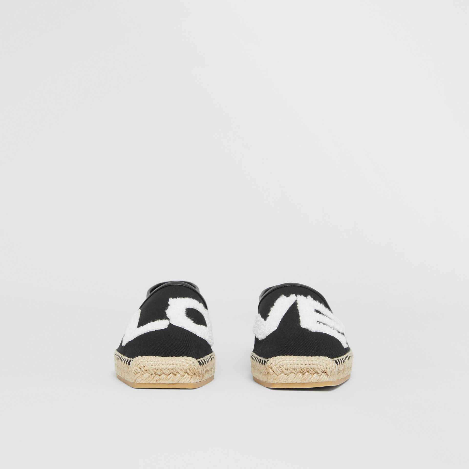 Love Motif Cotton Espadrilles in Black - Women | Burberry - gallery image 3