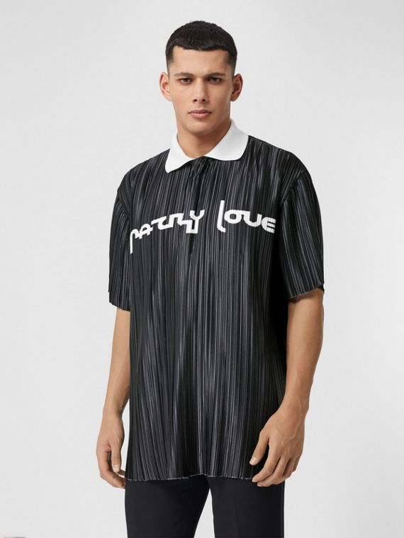 Slogan Print Satin Plissé Polo Shirt in Black