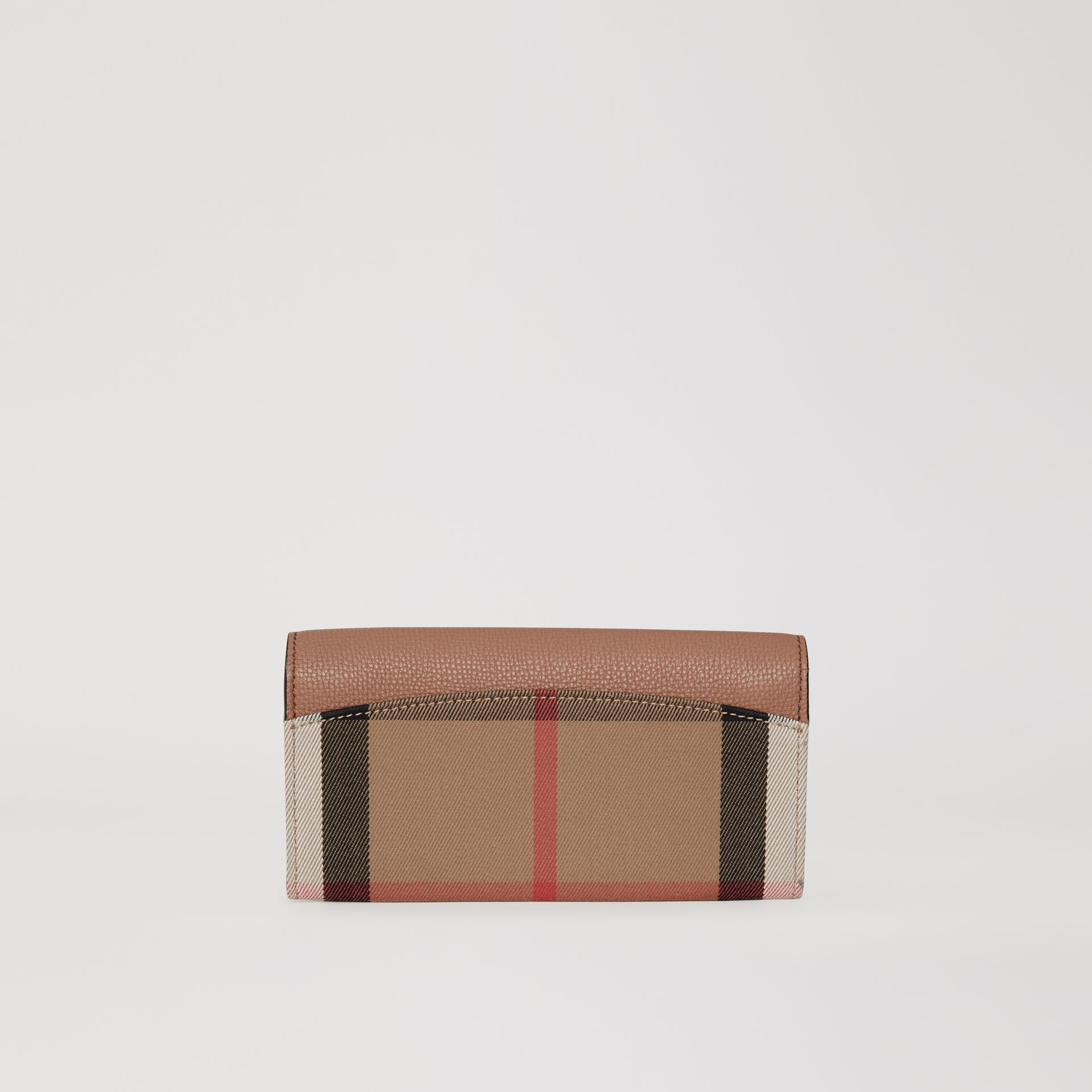 House Check and Leather Continental Wallet in Dark Sand - Women | Burberry - gallery image 2