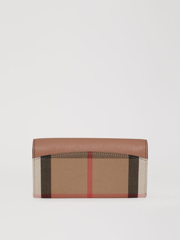 House Check and Leather Continental Wallet in Dark Sand - Women | Burberry - cell image 2