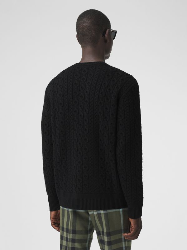 Cable Knit Wool Cashmere Sweater in Black - Men | Burberry Canada - cell image 2