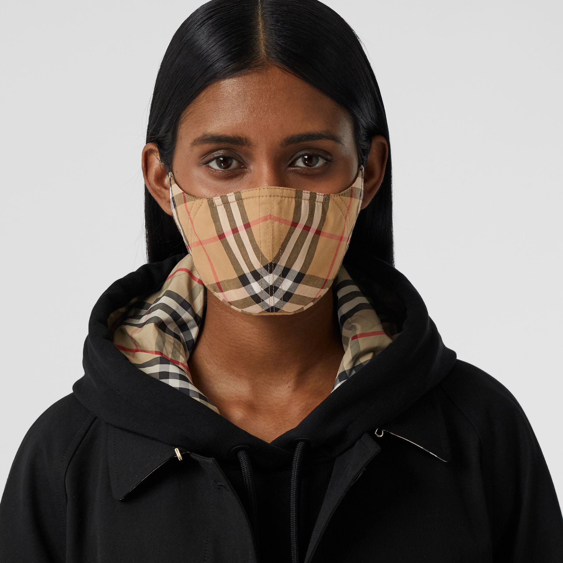 Vintage Check Cotton Face Mask in Antique Yellow | Burberry - gallery image 2