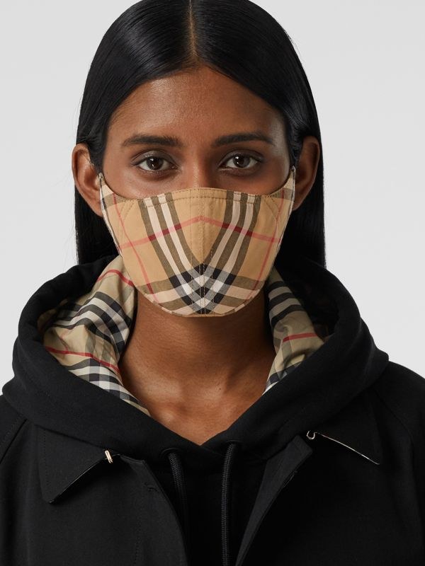 Vintage Check Cotton Face Mask in Antique Yellow | Burberry - cell image 2