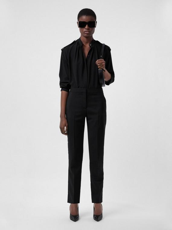 Epaulette Detail Silk Crepe de Chine Shirt in Black