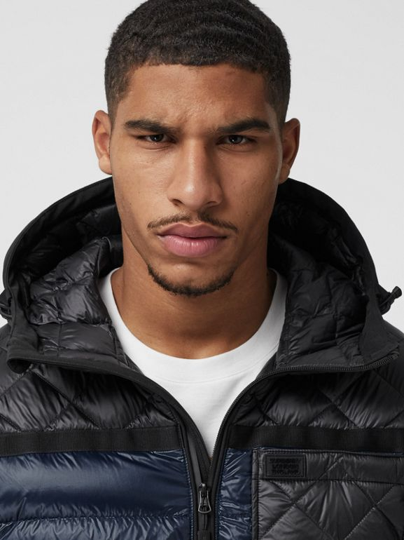 Diamond Quilted Panel Hooded Puffer Jacket in Midnight - Men | Burberry - cell image 1