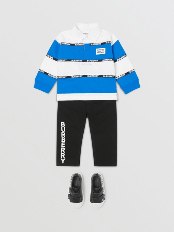 Camisa polo de algodão listrada com mangas longas e fita com logotipo