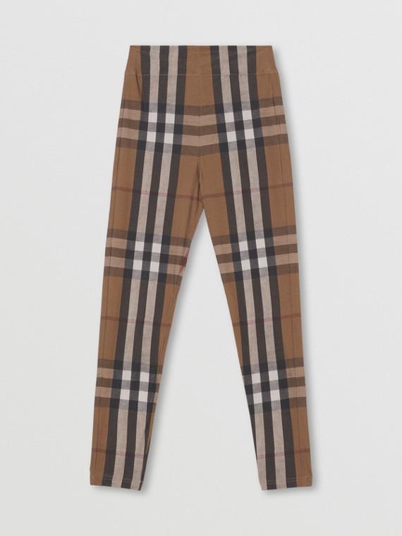 Leggings in jersey stretch con motivo tartan (Marrone Betulla)