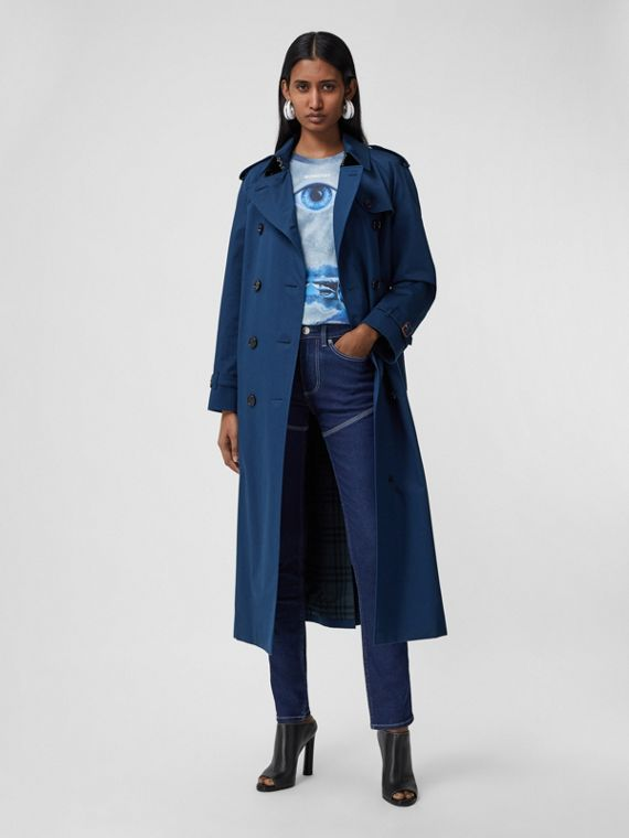 The Extra Long Waterloo Trench Coat in Ink Blue