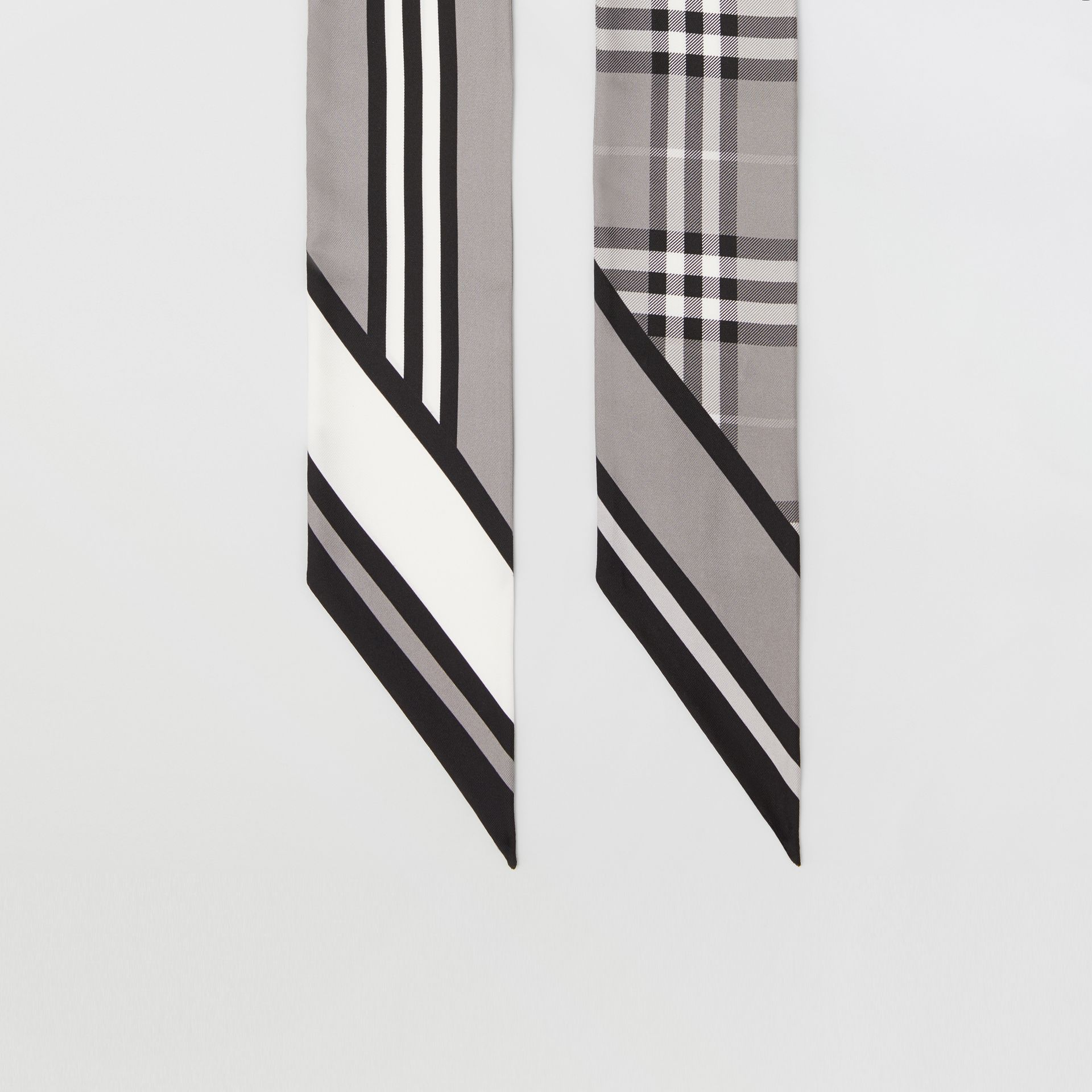 Montage Print Silk Skinny Scarf in Monochrome | Burberry - gallery image 3