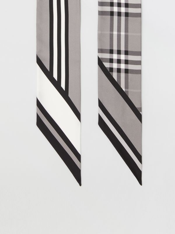 Montage Print Silk Skinny Scarf in Monochrome | Burberry - cell image 3