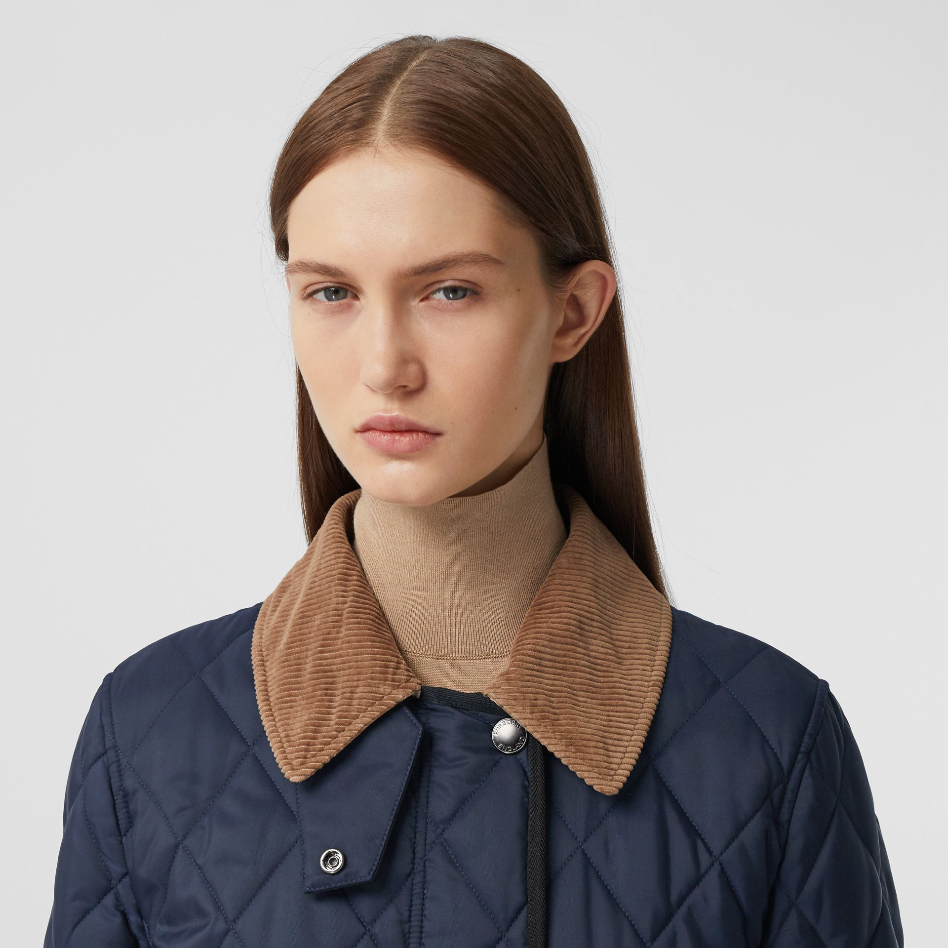 Detachable Fleece Collar Diamond Quilted Coat in Midnight Blue - Women | Burberry Canada - gallery image 1