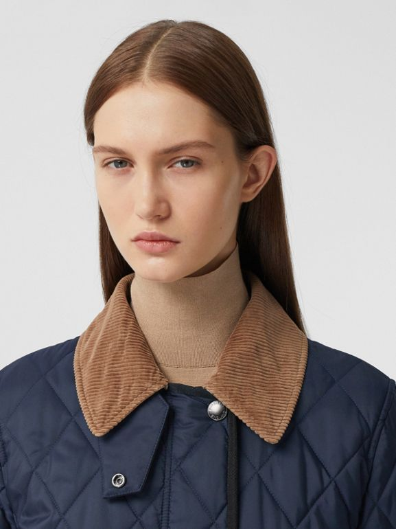 Detachable Fleece Collar Diamond Quilted Coat in Midnight Blue - Women | Burberry Canada - cell image 1