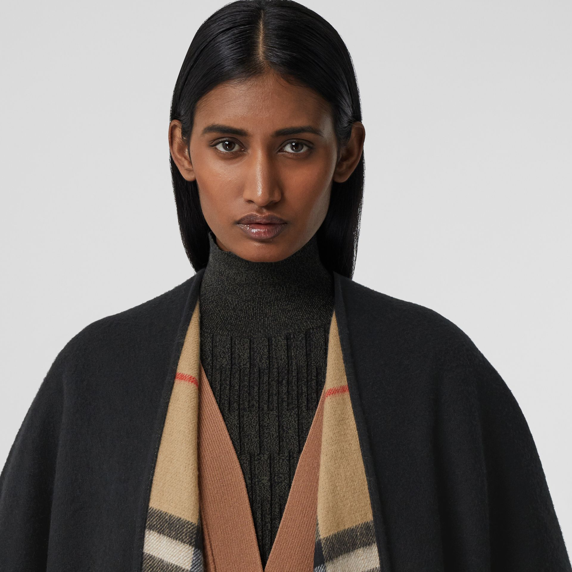 Check-lined Cashmere Merino Wool Cape in Black - Women | Burberry - gallery image 1