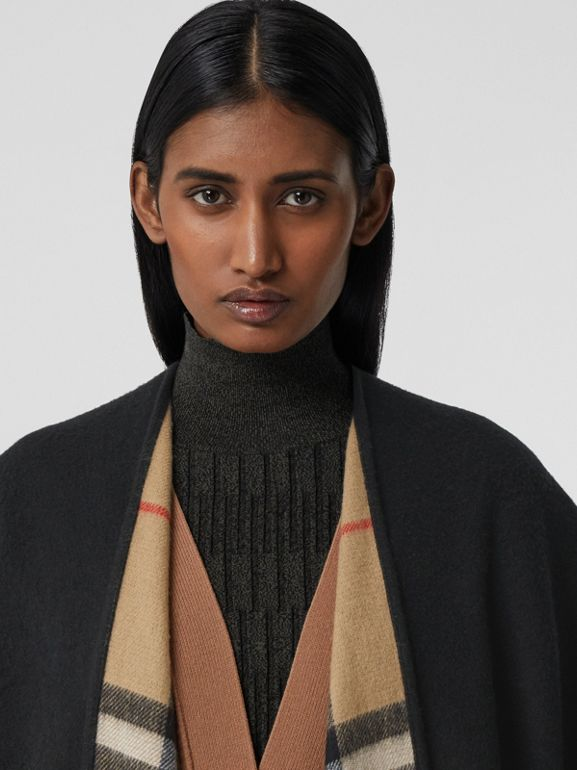 Check-lined Cashmere Merino Wool Cape in Black - Women | Burberry - cell image 1