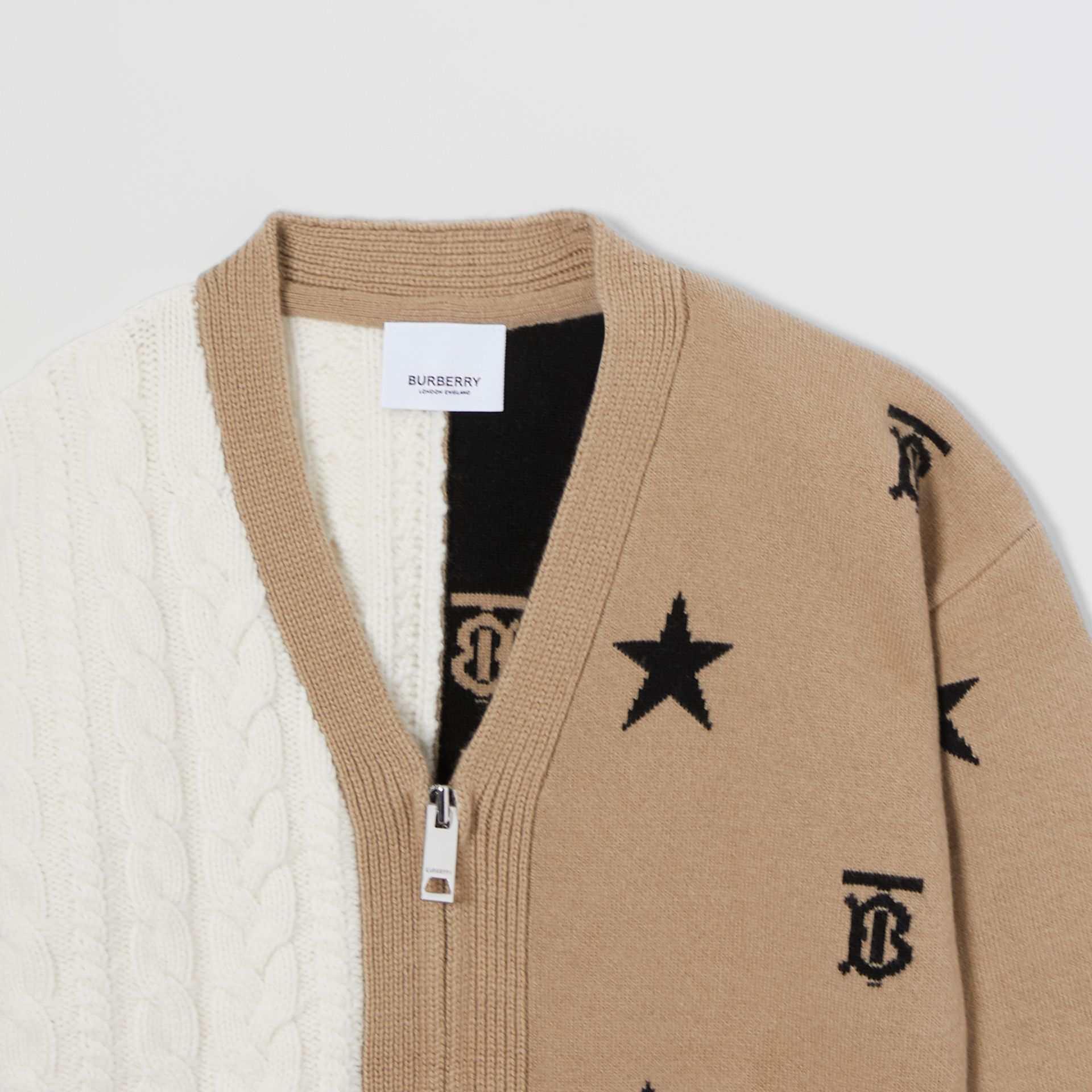 Star and Monogram Motif Wool Cashmere Cardigan in Archive Beige | Burberry - gallery image 4