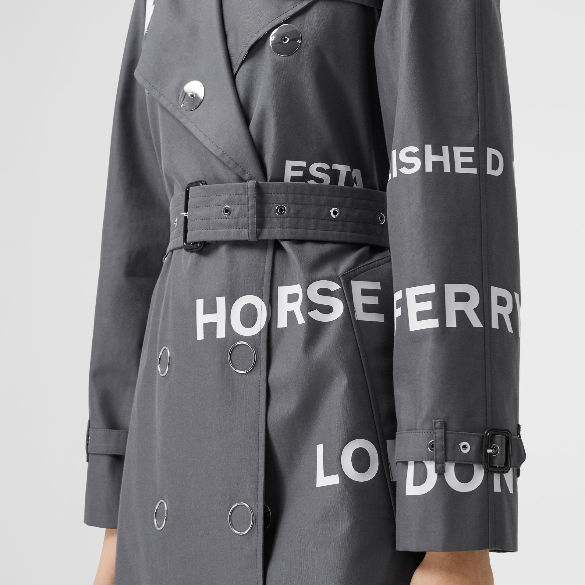 Horseferry Print Cotton Gabardine Trench Coat in Mid Grey - Women | Burberry - gallery image 5