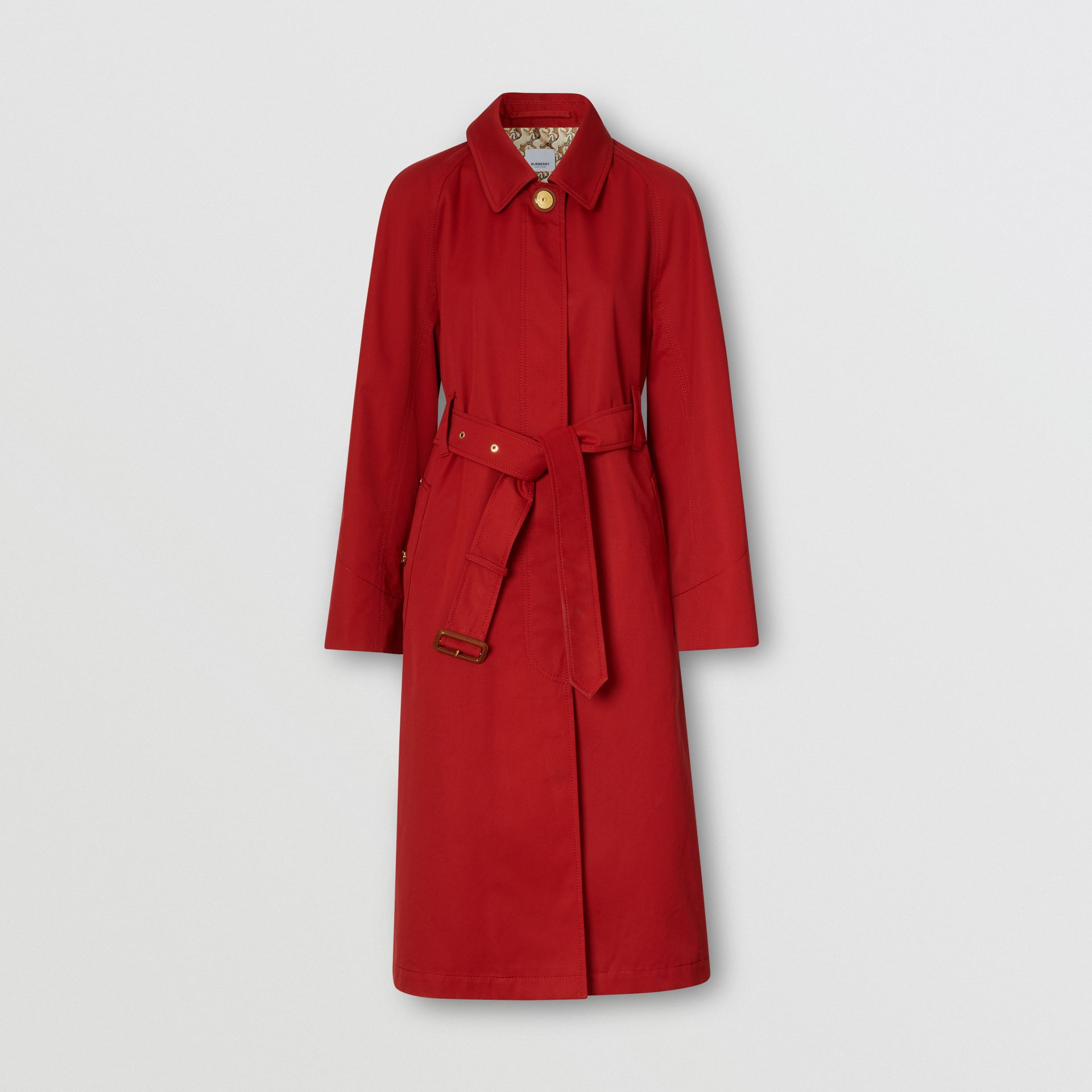 Tropical Gabardine Belted Car Coat in Dark Carmine - Women | Burberry - gallery image 3