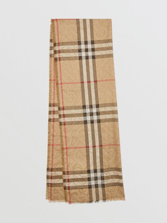 Metallic Monogram Lightweight Check Silk Wool Scarf in Archive Beige