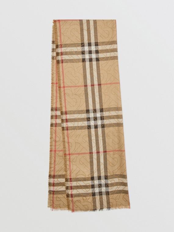 Leichter Schal aus Seide und Wolle mit Karo- und Monogrammmuster (Vintage-beige)