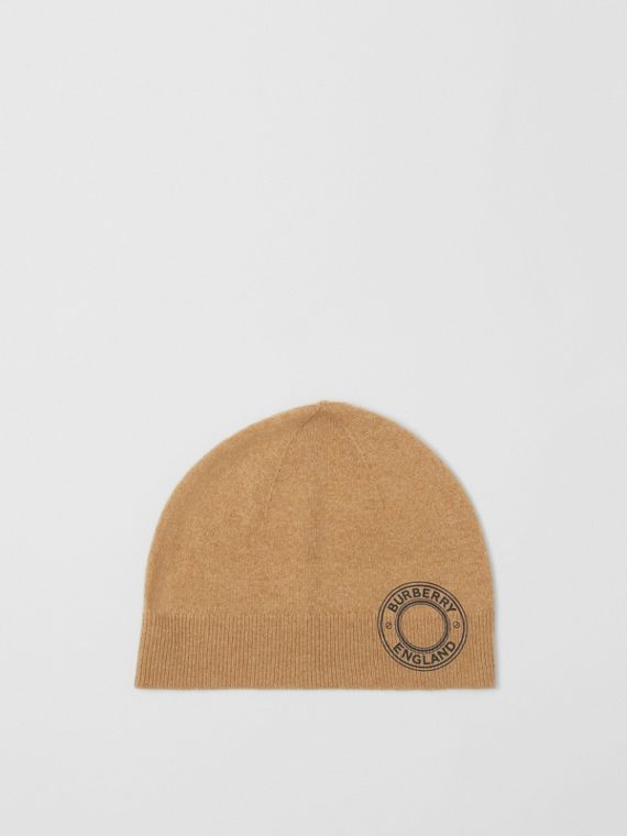 Logo Graphic Cashmere Blend Beanie in Camel