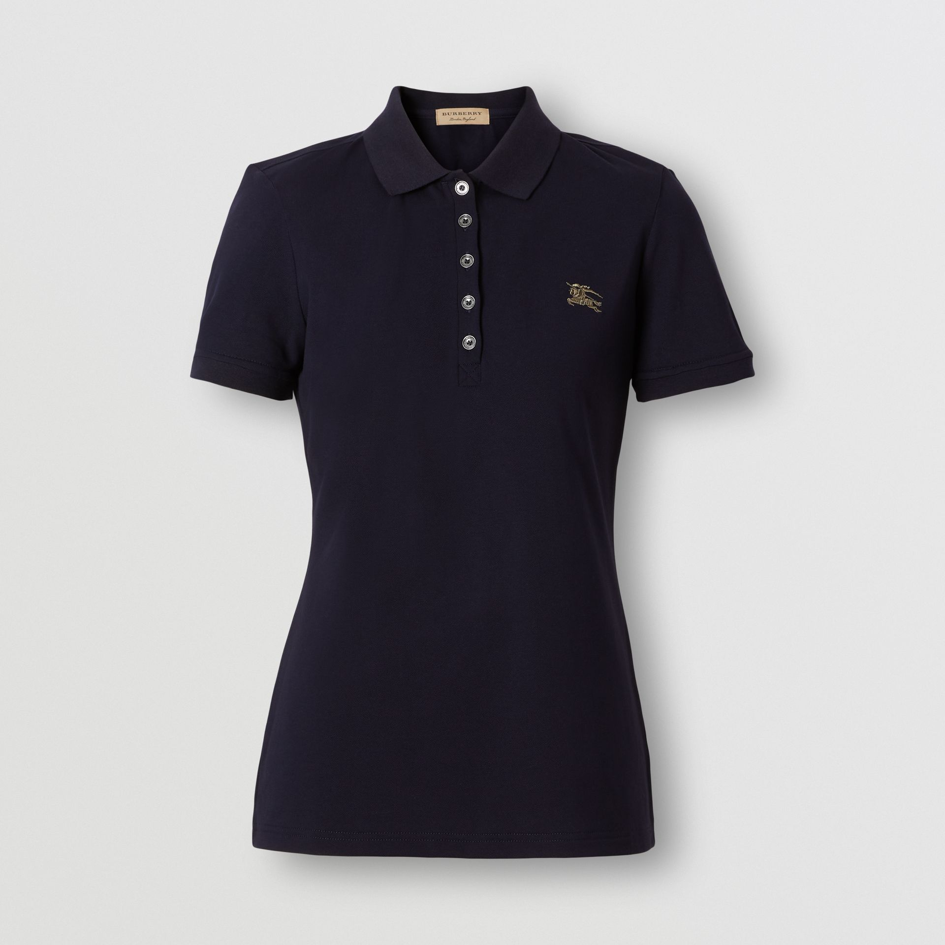 Check Trim Stretch Cotton Polo Shirt in Navy - Women | Burberry - gallery image 0