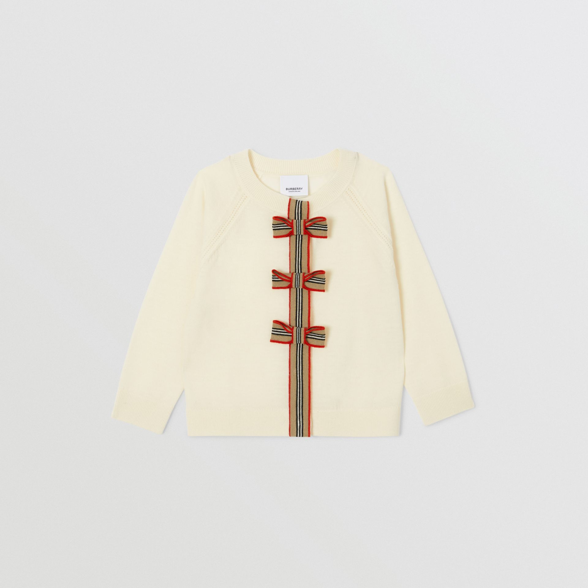 Icon Stripe Trim Merino Wool Two-piece Set in Ivory | Burberry United Kingdom - gallery image 0