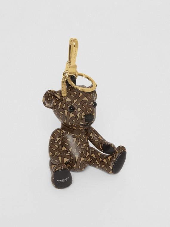 Pingente do Thomas Bear de couro com estampa de monograma (Castanho)