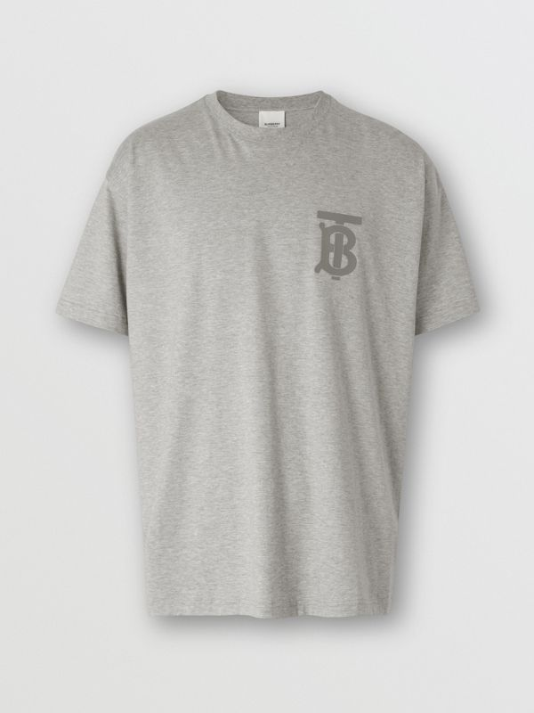 Monogram Motif Cotton Oversized T-shirt in Pale Grey Melange - Men | Burberry - cell image 3