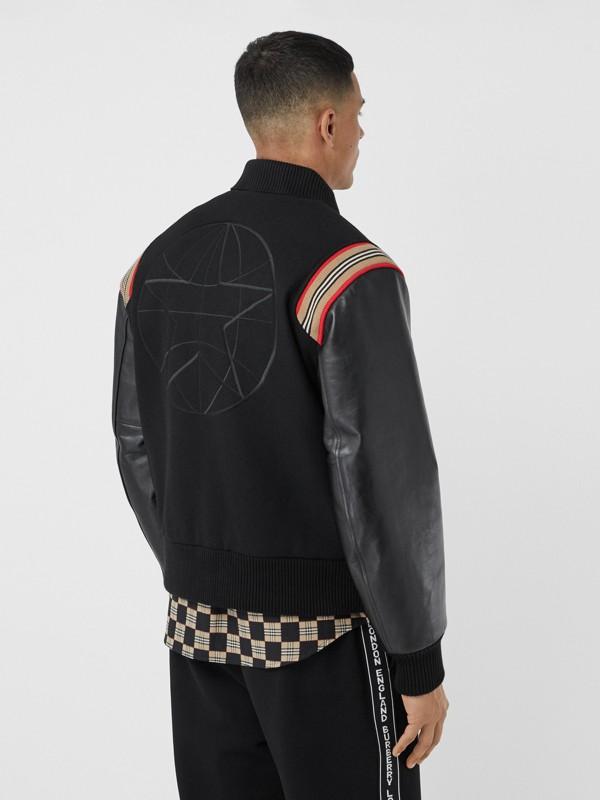 Icon Stripe Trim Wool Felt and Leather Bomber Jacket | Burberry United Kingdom - cell image 2