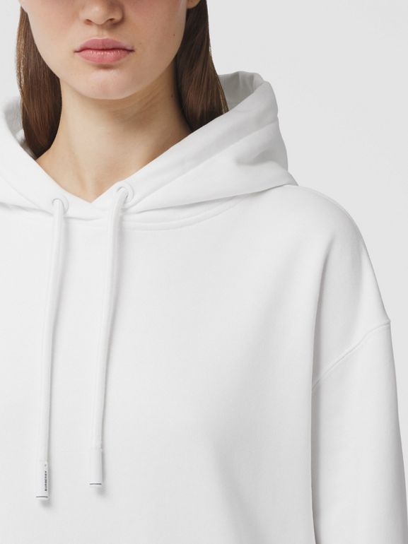 Coordinates Print Cotton Oversized Hoodie in White - Women | Burberry - cell image 1