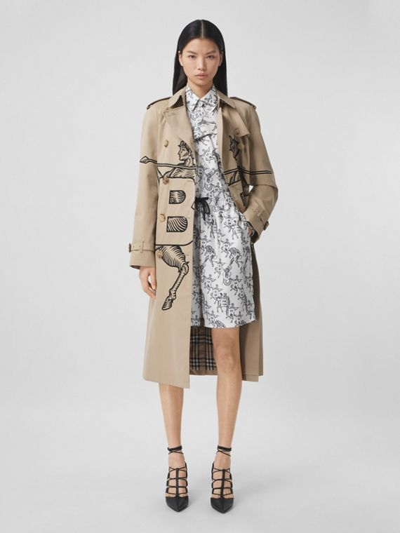 Mythical Alphabet Motif Cotton Trench Coat in Honey