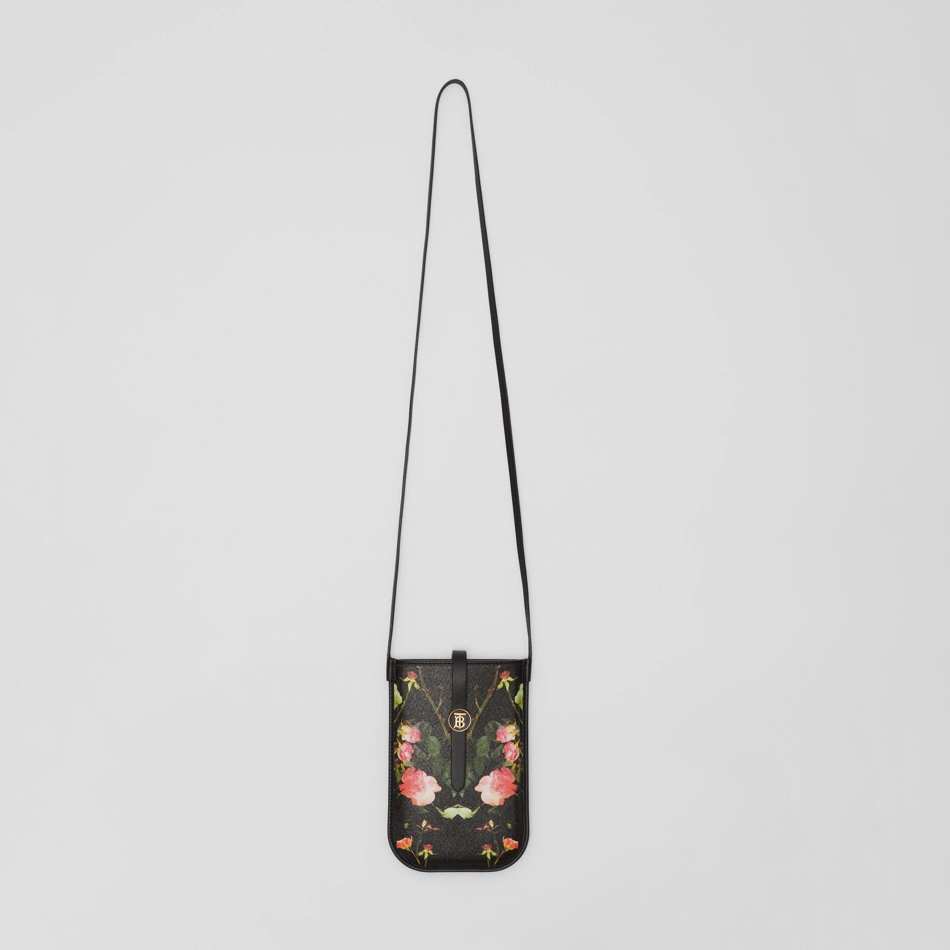Rose Print E-canvas Phone Case with Strap in Black | Burberry - gallery image 3