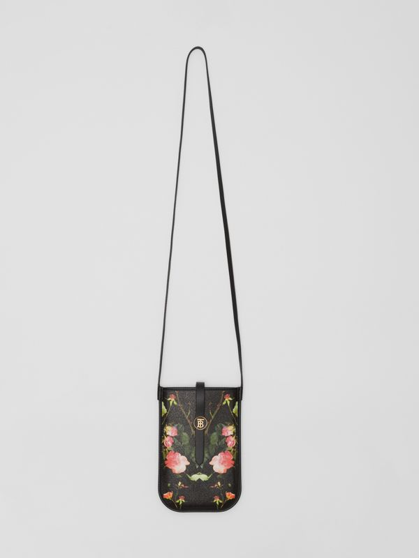 Rose Print E-canvas Phone Case with Strap in Black | Burberry - cell image 3