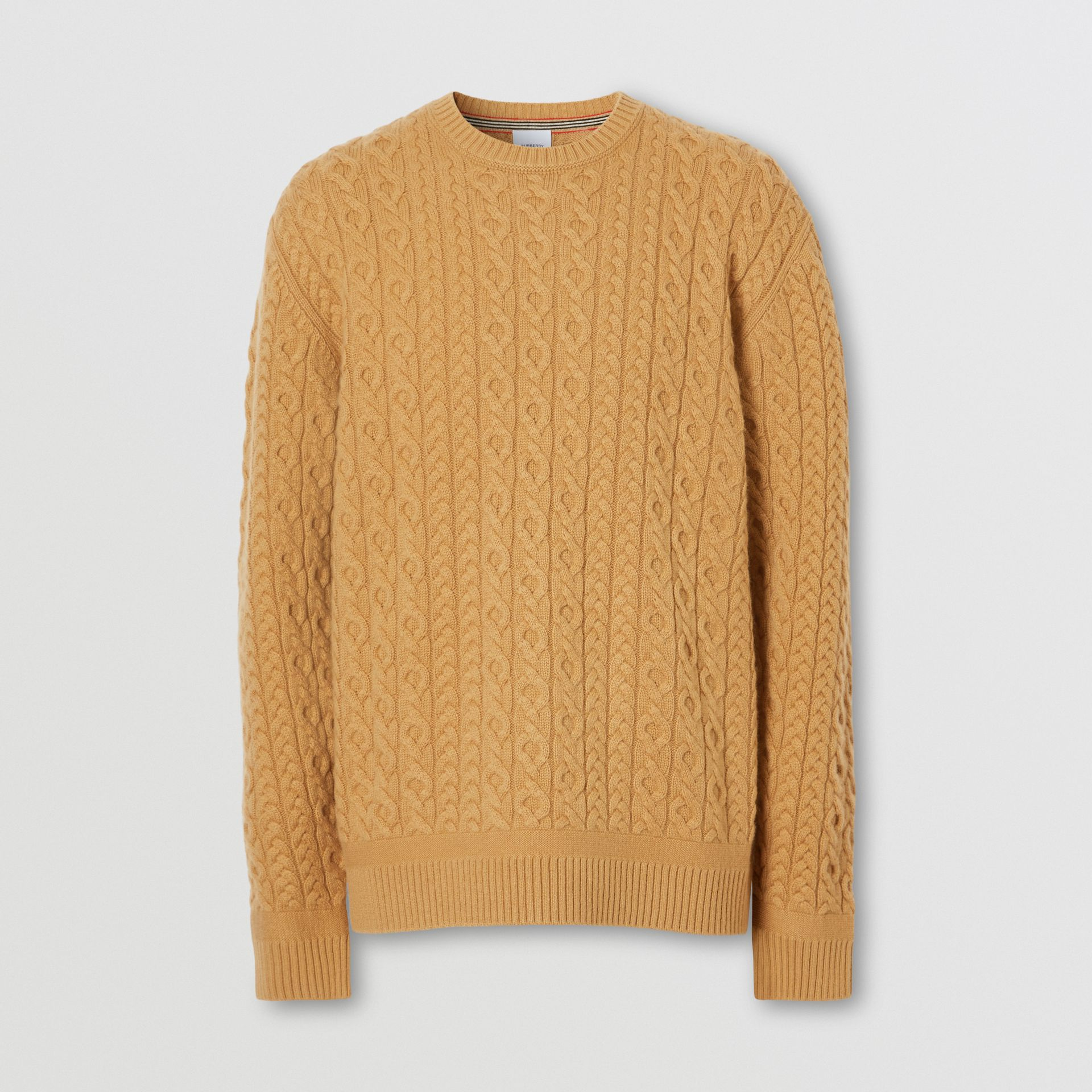 Cable Knit Wool Cashmere Sweater in Camel - Men | Burberry - gallery image 3