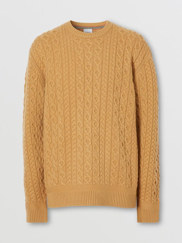 Cable Knit Wool Cashmere Sweater in Camel - Men | Burberry - cell image 3